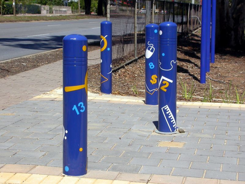The theme of 'Learning Pathways' informed the playful design of college bollards.