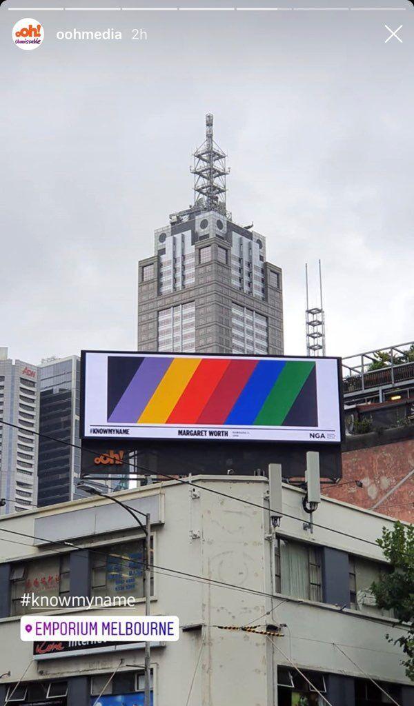 "'Know My Name'_Swanston-Lonsdale billboard. 'Untitled' print / ""Genus 0 No. 1' painting by Margaret Worth"