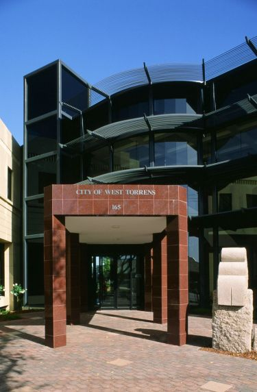 West Torrens Civic Centre entrance with 'Guardian Stone of Good Government'.
